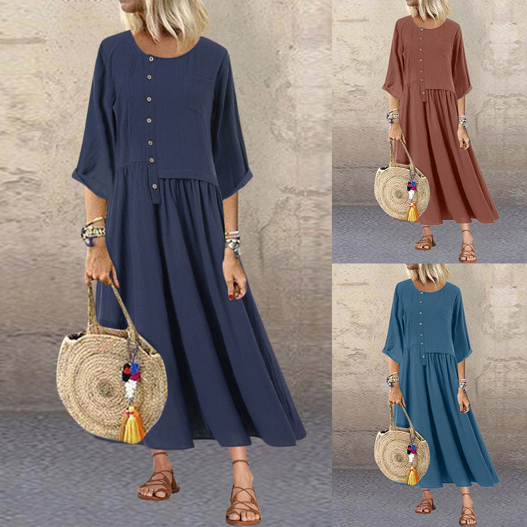Round Neck Solid Color Casual Maxi Dress