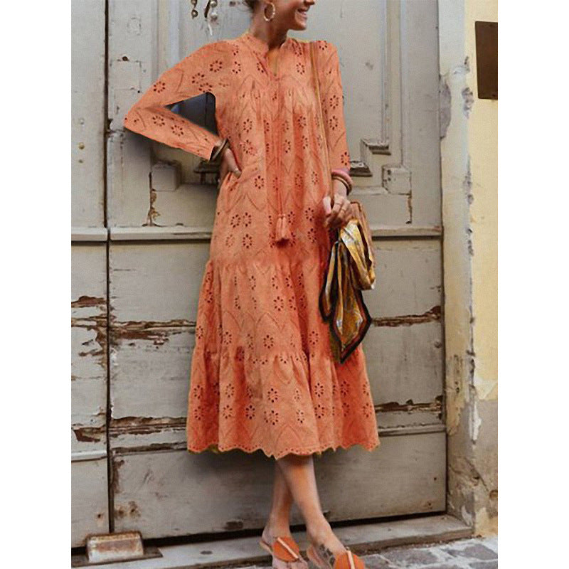 Stand Collar Long Sleeve Printed Dresses