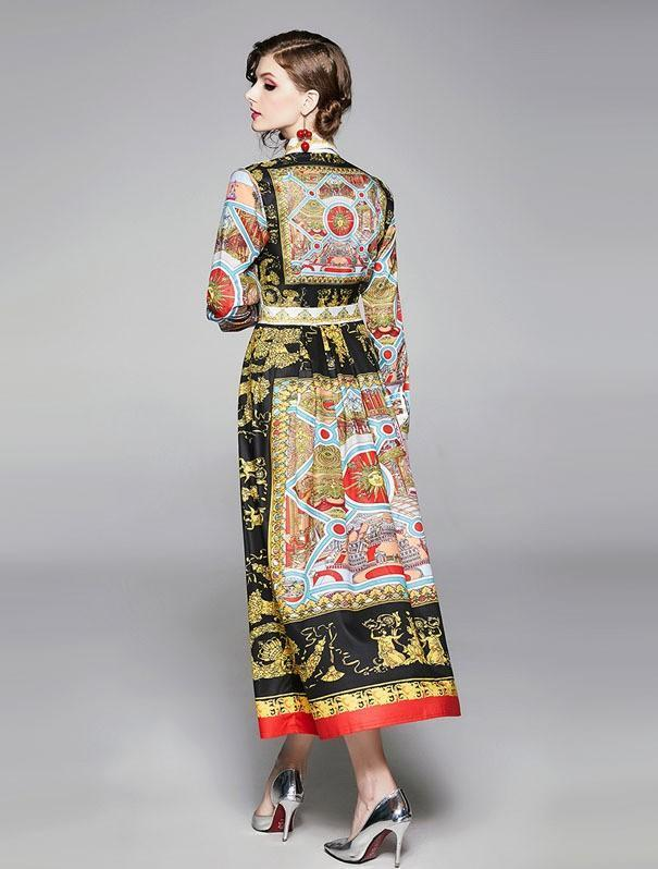 Retro Print Long Sleeves Royal Maxi Dress