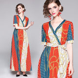 New Short Sleeve Print Swing Dress Long Dress