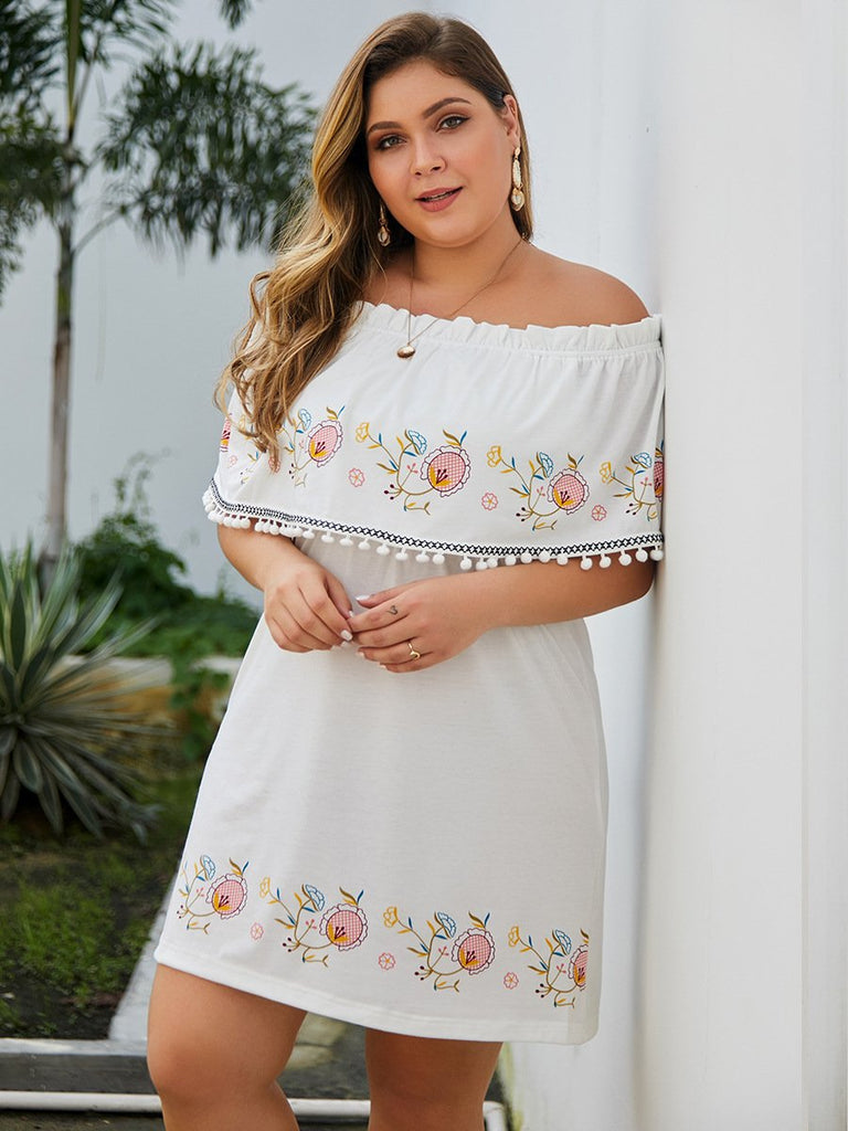 Chic Floral Printed White Tassels Off Shoulder Casual Mini Dress XL-4XL
