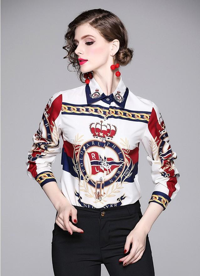 Printed Slim Long Sleeve Joker Lapel Shirt