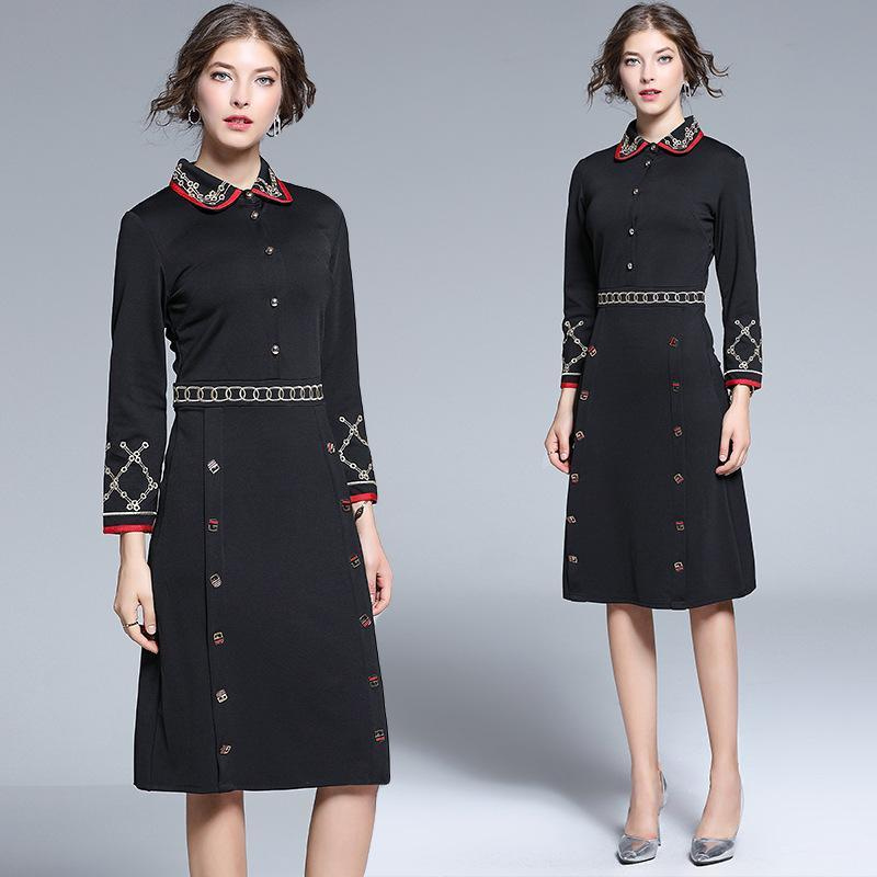 Vintage Fashion Embroidered Slim Mid-length Dress