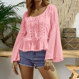 Trumpet Sleeve Round Neck Loose Lace Panel Long Sleeve T-Shirt