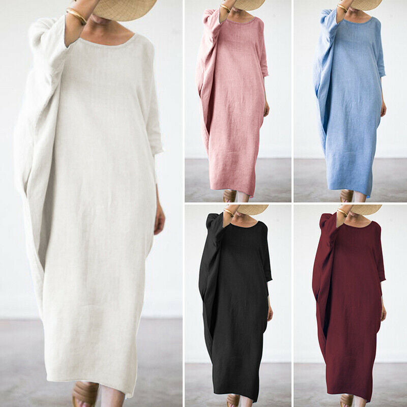 Bat Sleeve Cotton and Linen Thickening Dress
