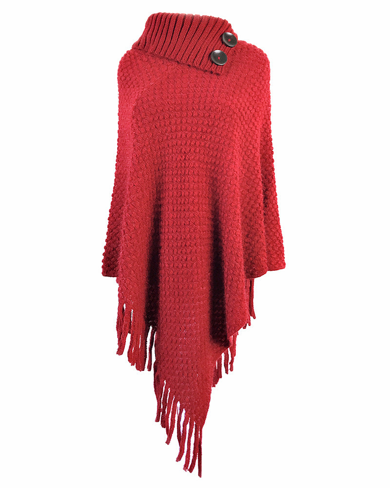 Fringed cloak shawl button solid color pullover sweater