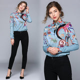 Fashion Lapel Shirt Print Slim Long Sleeve Shirt