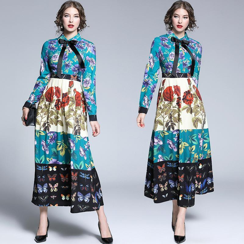 Retro Floral Print Long Sleeves Maxi Dress