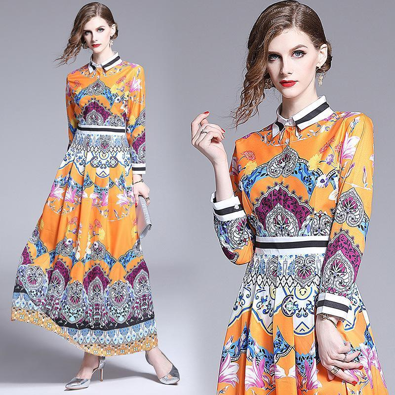 Retro Court Long Sleeve Maxi Dress