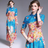 Fashion Holiday Style Slim Printed Dress