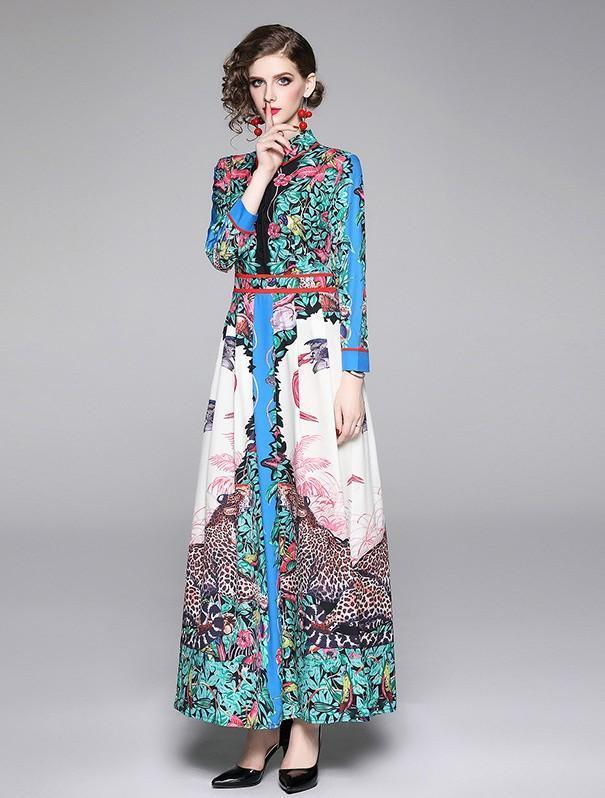 Vintage Lapel Long Sleeve Fashion Print Slim Long Dress