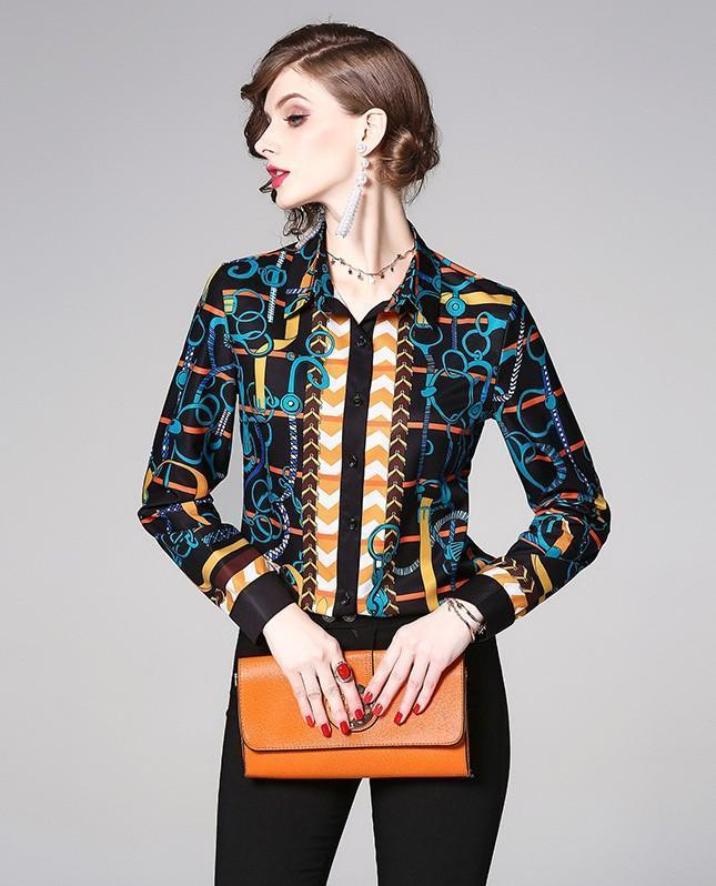 Royal Print Long Sleeve Blouses Shirts