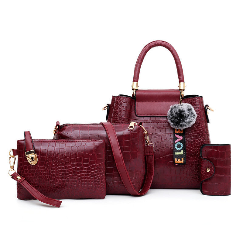 Fashion Crocodile Pattern Mother Bag (Four-Piece Set)