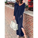 Fashion V Neck Casual Split Long Dress