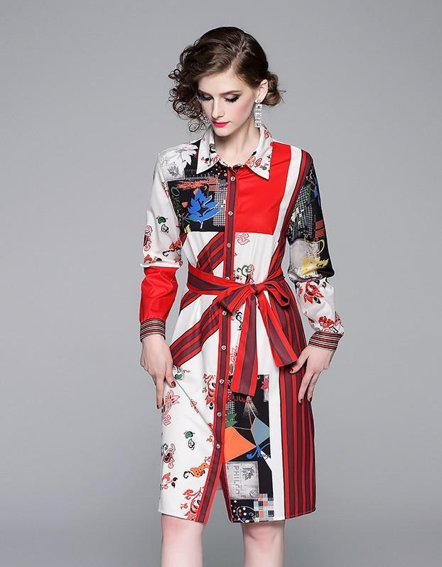 Fashion Single-breasted Long-sleeved Lapel Printed Shirt Dress