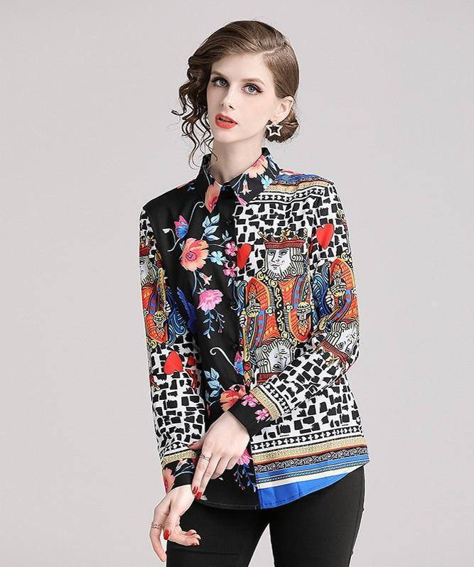 Retro Floral Print Long Sleeves Shirt