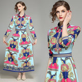 Classic Floral Print Long Sleeve Royal Court Dress