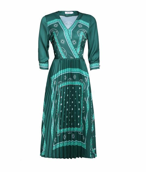 Retro Green Mid-length Pleated Print Dress