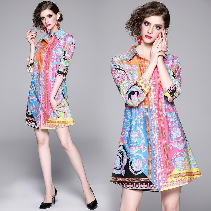 Printed Slim Long Sleeve Joker Lapel Shirt Dress