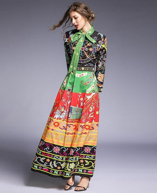 Fashion Flower Print Retro Maxi Dress