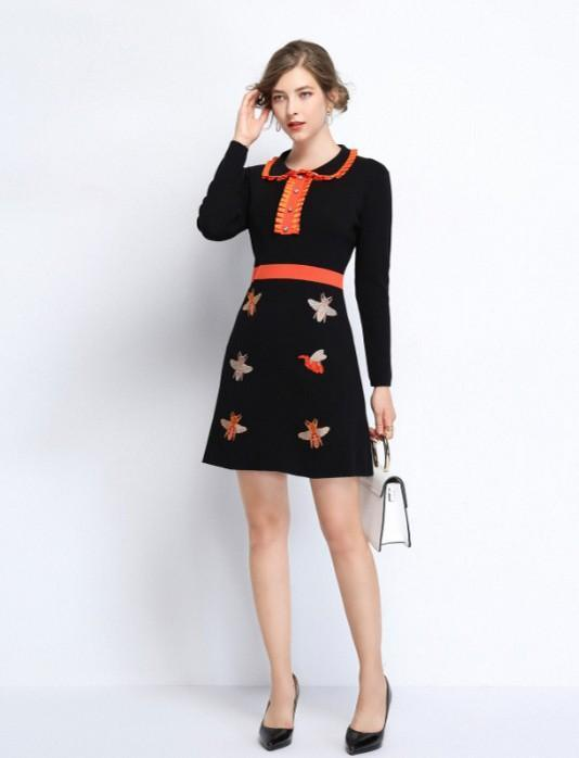 Doll Collar Knitted Slim Embroidered Dress