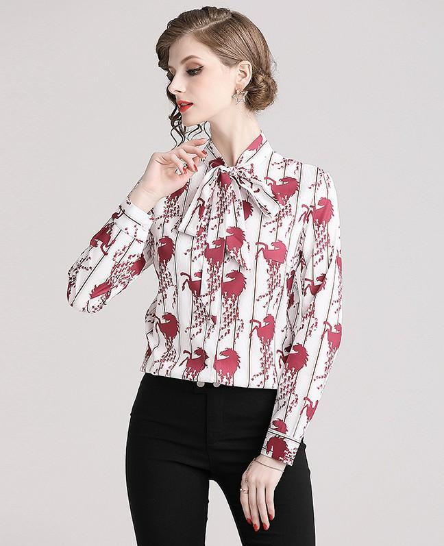 New Fashion Printed Long Sleeve Blouse Shirts