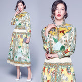 Lapel Fashion Print Long-sleeved Mid-length Dress