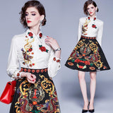 New Lapel Print Contrast High Waist Dress