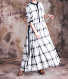 Cotton and Linen Plaid Large Size Casual Maxi Dress