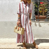 Fashion Striped Casual Cotton Dress