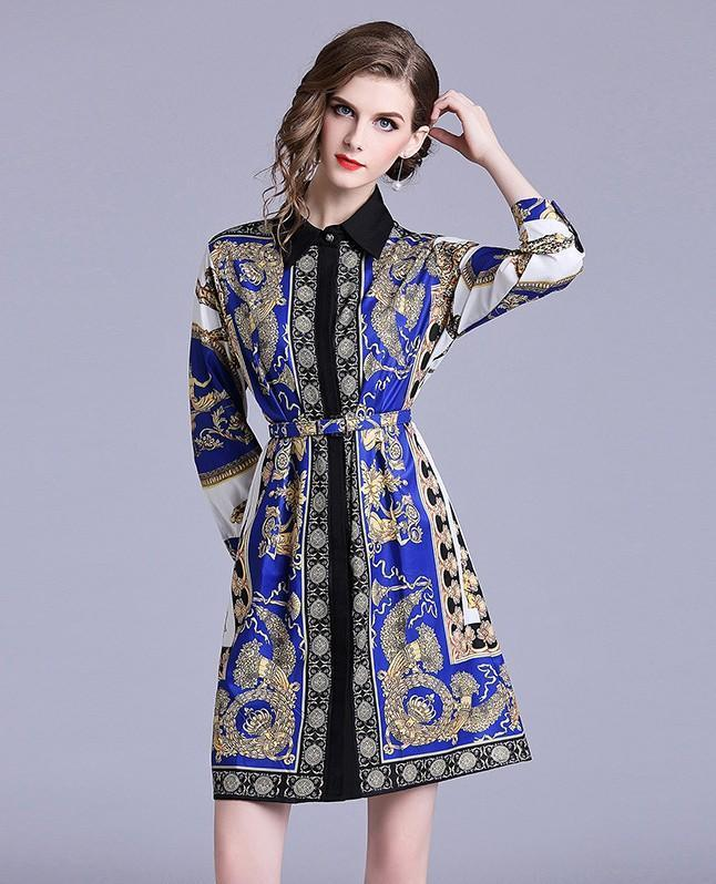 Lapel Long Sleeve Retro Print Loose Dress