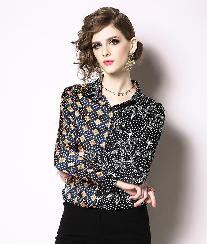 Printed Lapel Long Sleeve Shirt