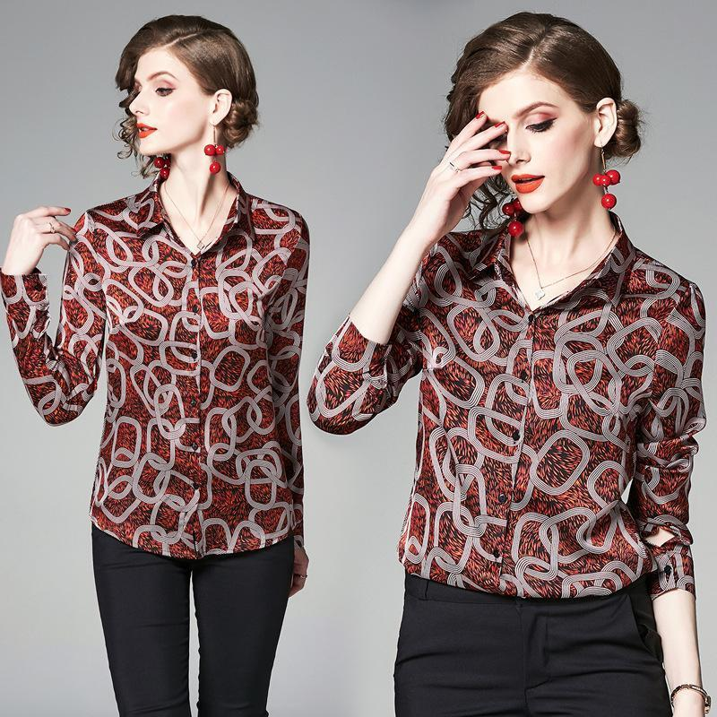 Fashion Abstract Button Flower Lapel Shirt