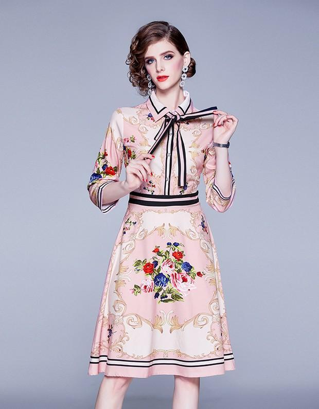 New Flower Print Long Sleeve Midi Dress