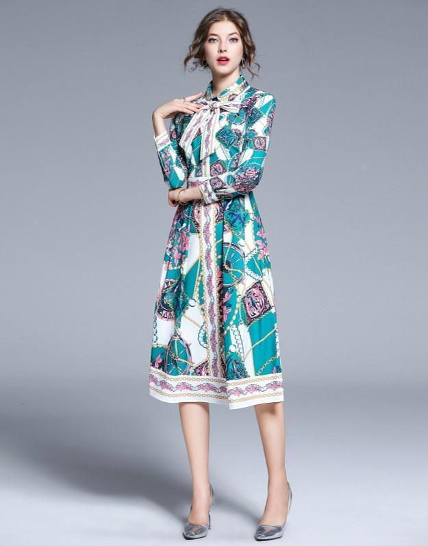 Knot Bow Lapel Slim Print Dress