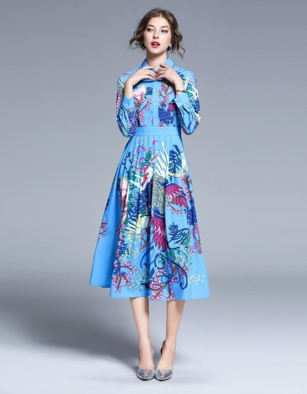 Fashion Baroque Style Lapel Print Dress