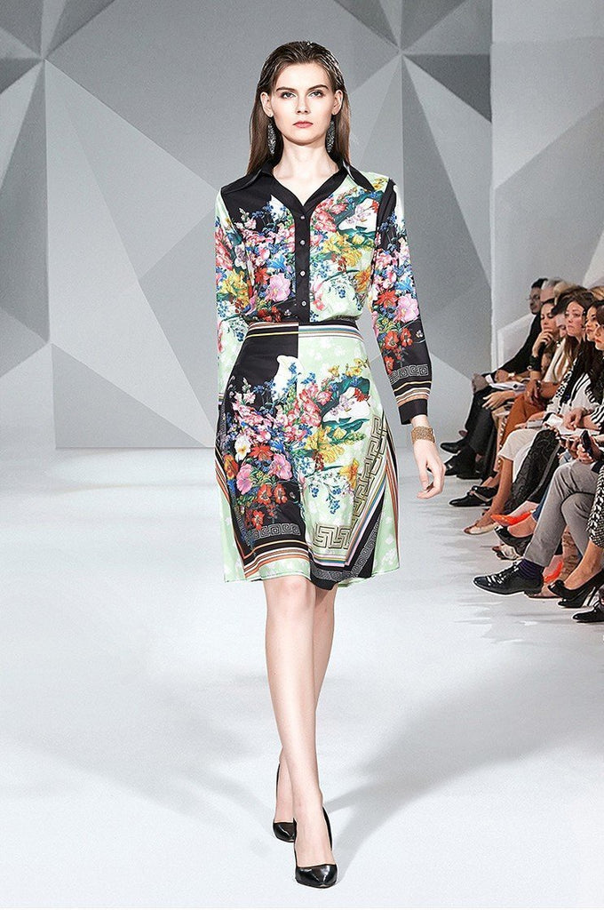 Fashion Lapel Floral Print Shirt + Mid-length Skirt