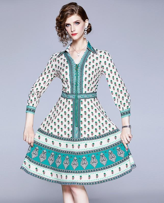 Vintage Print Fashion Slim A-line Dress