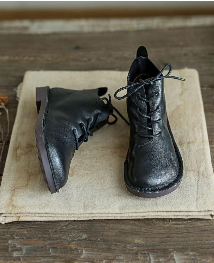 Cowhide vintage lace-up soft Martin boots_black