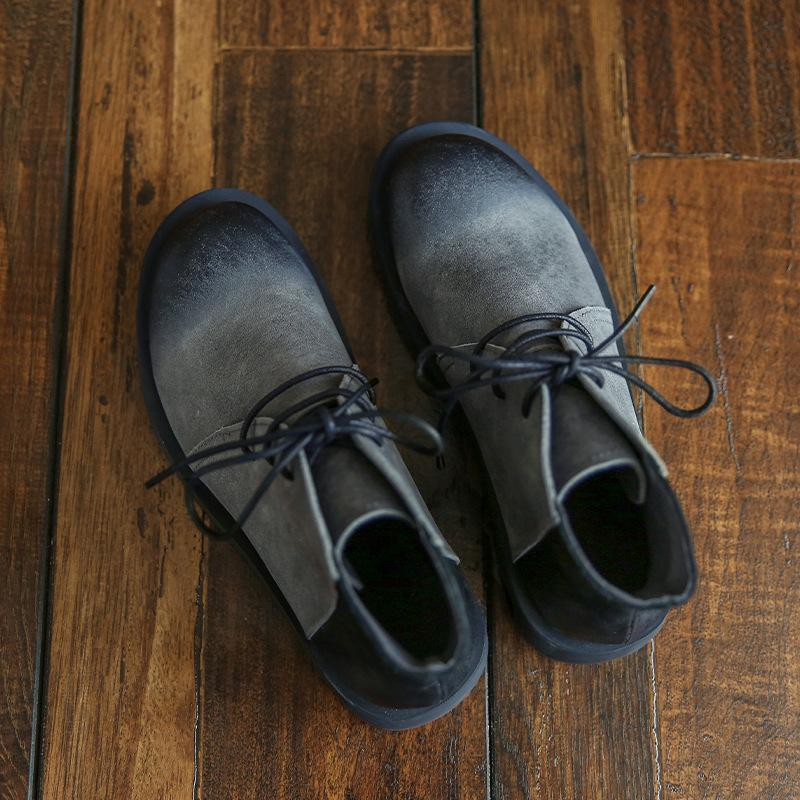 Cowhide handmade lace-up Martin boots_gray