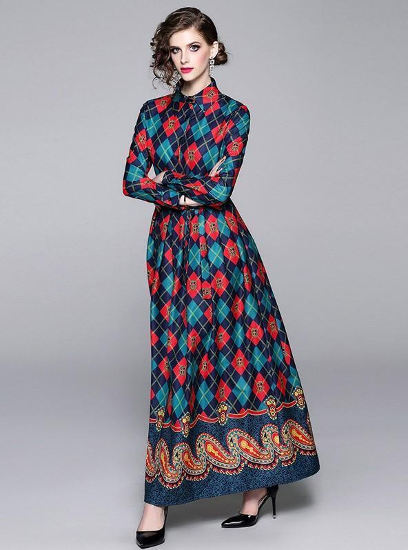 Retro Printed Lapels Long Sleeves Slim Long Dress