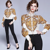 High Collar Long Sleeve Printed Versatile Shirt