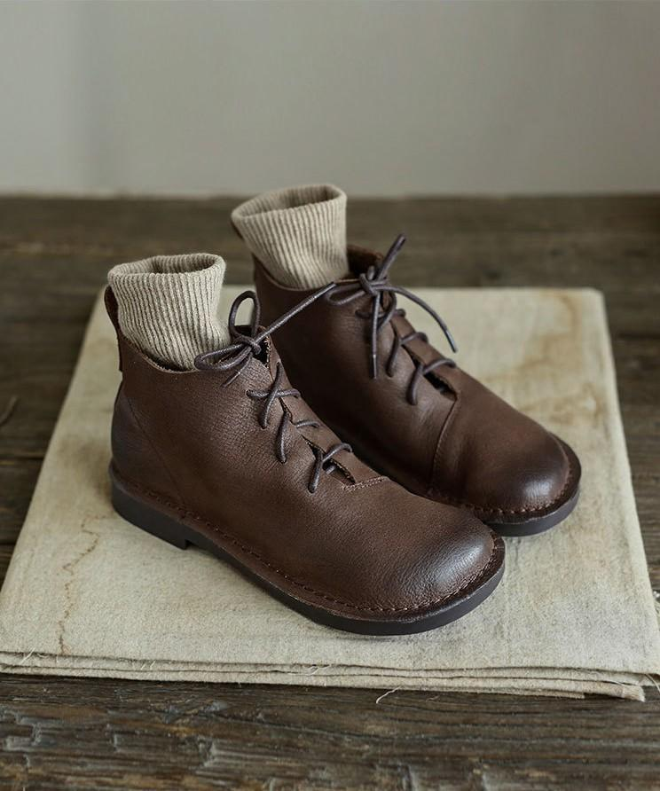 Cowhide vintage lace-up soft Martin boots_brown