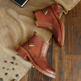 Elastic leather Chelsea boots_brown