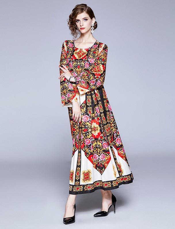 Retro Floral Print Red Long Sleeves Maxi Dress