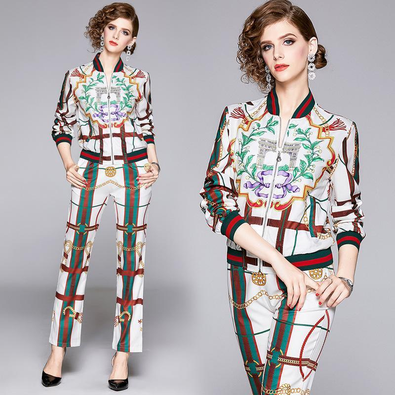 Fashion Long Sleeve Jacket + Print Pant