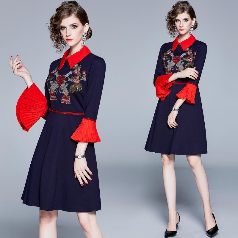 Fashion Lapel Embroidered Trumpet Sleeves Slim Dress