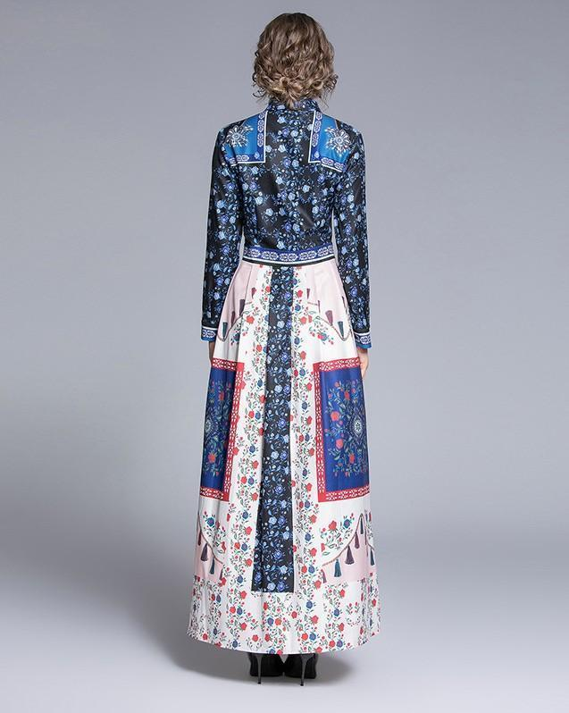 New Long-sleeved Slim Printed Long Dress