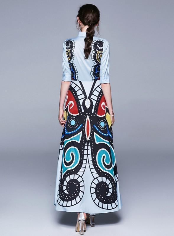 Retro Lapel Fashion Long Dress