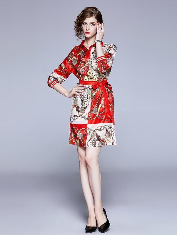 New Fashion Print Shirt Skirt Long Sleeve Dress